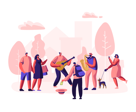 Street Musicians Perform Outdoor Show. Guitarist and Saxophonist Playing Music in Park, People Watching Concert, Put Money in Hat, Photographing Musical Performance. Cartoon Flat Vector Illustration  イラスト・ベクター素材