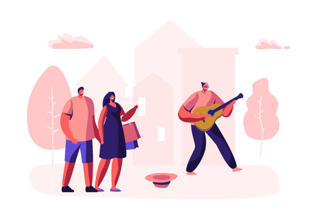 Hipster Musician Performing Outdoor Show on City Street Playing Guitar for Pedestrians. Talented Man Play Melody in Park, People Watching Concert, Musical Performance. Cartoon Flat Vector Illustration