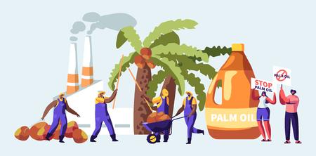 Concept d'industrie de production d'huile de palme avec des travailleurs ramassant des fruits, usine de traitement avec des tuyaux émettant de la fumée, des émissions de gaz polluants, des manifestants avec des bannières d'arrêt. Illustration vectorielle plane de dessin animé Vecteurs