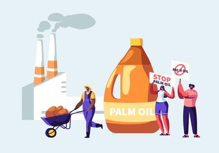 Manifestanti con le bandiere per smettere di olio di palma che produce divieto di industria, lavoratore con materia prima, fabbrica di lavorazione con tubi che emettono fumo, inquinamento dell'ambiente del fumetto piatto Vettoriali