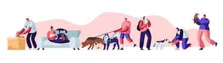People Spending Time with Pets at Home and Outdoors. Male and Female Characters Walking with Dogs, Relaxing with Cats, Leisure, Communication Love, Care of Animals. Cartoon Flat Vector Illustration