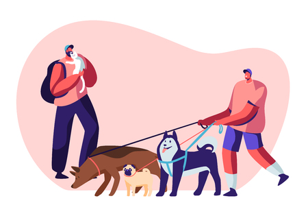 People Spending Time with Pets at Home and Outdoors. Male Character Walking with Dogs Team, Man Relaxing with Cat, Leisure, Communication Love, Care of Animals. Cartoon Flat Vector Illustration
