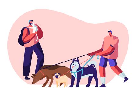 Personas que pasan tiempo con mascotas en casa y al aire libre. Personaje masculino caminando con el equipo de perros, hombre relajante con gato, ocio, amor de comunicación, cuidado de animales. Ilustración de Vector plano de dibujos animados