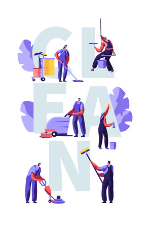 Service of Professional Cleaners Work Concept. Characters in Uniform with Cleaning Equipment, Mopping, Vacuuming Floor, Rub, Sweeping Poster, Banner, Flyer, Brochure. Cartoon Flat Vector Illustration