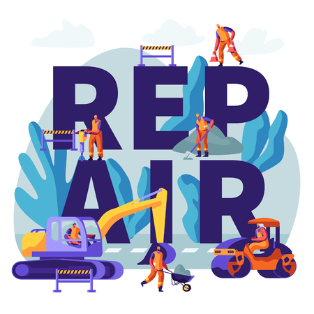 Road Repair with Construction Machines and Working People Concept. Excavator and Rolling Heavy Vehicles Making Asphalt Maintenance. Poster, Banner, Flyer, Brochure. Cartoon Flat Vector Illustration