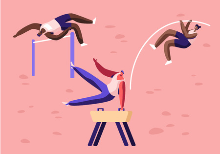High Jump, over Barrier and with Pole, Exercise on Vaulting Horse. Games Sports Competition, Championship, Professional Sportsmen and Sportswomen Activity Cartoon Flat Vector Illustration
