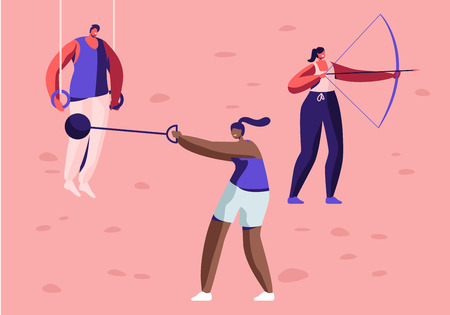 High Jump, Vaulting Horse, Core Shot, Bow Shooting, Sport Rings Gymnastics Exercises, Professional Sport Activities Set. Male and Female Sportsmen Characters Workout. Cartoon Flat Vector Illustration