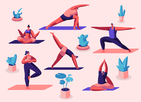 Male and Female Characters Sport Activities Set. People Doing Sports, Yoga Exercise, Fitness, Workout in Different Poses, Stretching, Healthy Lifestyle, Leisure. Cartoon Flat Vector Illustration Illustration