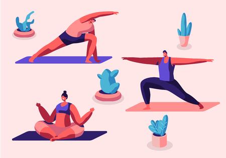 Group of People Practicing Yoga Sitting on Mats in Gym Studio, Yogi Men and Women Doing Padmasana Exercise, Lotus Pose with Mudra, Stretching, Gymnastics, Sport Class Cartoon Flat Vector Illustration