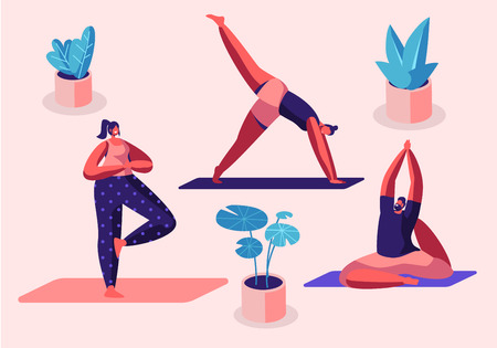 Yogi Women Group Doing Yoga Exercises on Mats at Studio. Fitness, Sport and Healthy Lifestyle Concept, Personal Trainer People Practicing Yoga, Workout Class, Health Cartoon Flat Vector Illustration