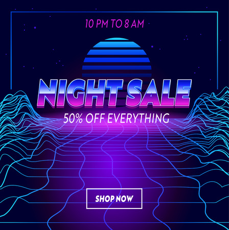 Night Sale Advertising Banner with Typography on Synthwave Neon Grid Futuristic Background. Branding Template Design for Shopping Discount. Social Media Content Decoration, Promo. Vector Illustration