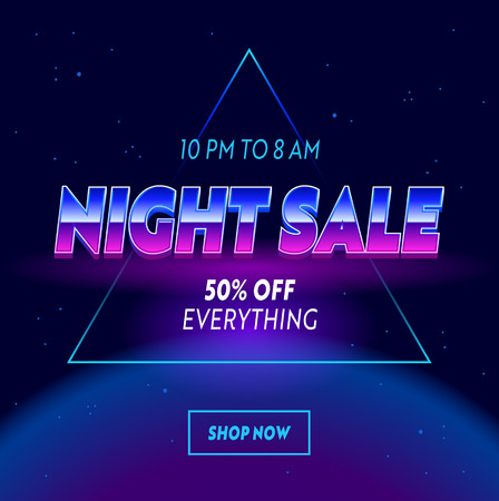 Night Sale Advertising Banner with Typography on Neon Space with Stars Cyberpunk Futuristic Background. Shopping Discount Template Design for Social Media, Retrowave Vintage Promo Vector Illustration