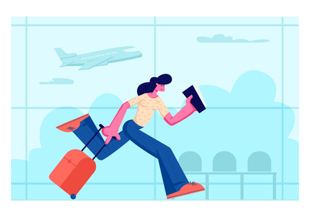 Young Woman Character Holding Ticket in Hands Running with Luggage in Airport Terminal Waiting Area with Flying Airplane on Background. Summer Time Vacation Trip. Cartoon Flat Vector Illustration