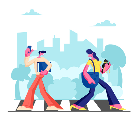 Young Adorable Woman with Dog and Man with Phone Walking along Crosswalk in Big Busy Metropolis, City Dwellers Lifestyle, Hurry at Work or Weekend Spare Time, Traffic. Cartoon Flat Vector Illustration