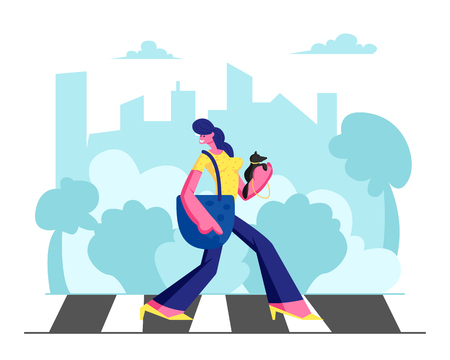 Young Adorable Woman in Fashioned Dress with Little Dog in Hands Walking along Crosswalk in Big Busy Metropolis, Girl City Dweller Lifestyle, Spare Time, Traffic. Cartoon Flat Vector Illustration