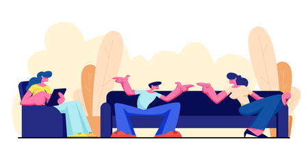 Friends Sitting on Couch, Communicating, Relaxing with Gadget at Home. Male and Female Characters Friendship, Chatting People Conversation Leisure, Sparetime, Chatting Cartoon Flat Vector Illustration Stock Illustratie