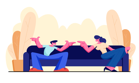 Young Man and Woman Sitting on Sofa at Home Having Active Conversation. People Chatting, Discussing, Family Spare Time, Friends Meeting, Wife and Husband Quarrel. Cartoon Flat Vector Illustration