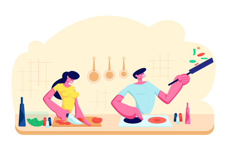 Young Loving Couple Cooking Together on Kitchen. Family Prepare Dinner with Fresh Products on Table. Every Day Routine, Love, Human Relations, Romantic Evening Meal. Cartoon Flat Vector Illustration