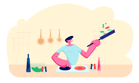 Young Handsome Man Cooking on Kitchen at Home. Happy Male Character Holding Pan with Food, Preparing Delicious and Healthy Meal for Dating or Dinner Weekend Spare Time Cartoon Flat Vector Illustration