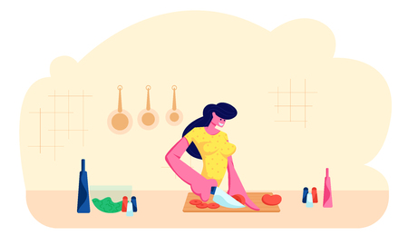 Young Adorable Woman Chopping Vegetables. Happy Female Character Cooking on Kitchen at Home Preparing Delicious and Healthy Food for Dating or Dinner, Spare Time. Cartoon Flat Vector Illustration  イラスト・ベクター素材