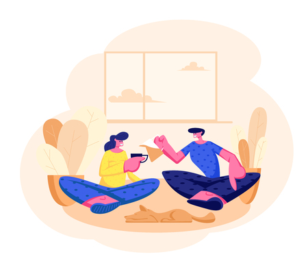 Young Loving Couple Sitting on Couch in Living Room Drinking Tea. Male, Female and Dog Characters Together on Weekend Evening. Love, Leisure, Family Sparetime, Day Off Cartoon Flat Vector Illustration Stock Illustratie