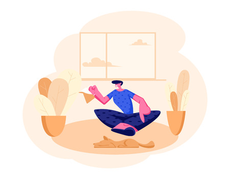 Smiling Man Sitting on Floor with Tea Pot in Hands at Home Domestic Interior. Male Character Having Leisure, Sparetime, Relaxing or Chatting with Friend, Hospitality. Cartoon Flat Vector Illustration