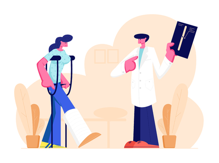 Handsome Male Medical Doctor Listening to Beautiful Female Patient Standing on Crutches with Broken Leg Showing X-ray Picture with Limb Fracture. Healthcare, Hospital Cartoon Flat Vector Illustration Standard-Bild - 128442140