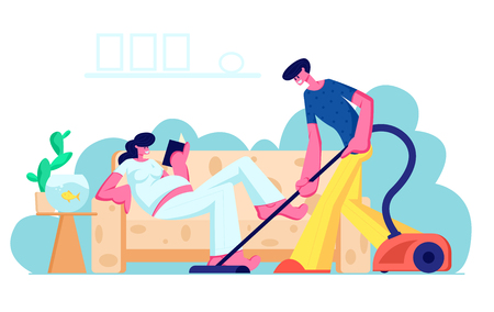 Happy Loving Couple Husband and Wife Prepare Become Parents. Man Vacuuming Floor, Pregnant Woman with Big Belly Reading on Couch. Young Family Waiting Baby, Clean Home Cartoon Flat Vector Illustration