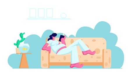 Young Pregnant Woman with Big Belly Lying on Comfortable Sofa Reading Book at Home. Leisure, Spare Time, Weekend, Girl Waiting Baby, Maternity, Parenting, Relaxation Cartoon Flat Vector Illustration