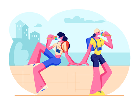 Couple of Female Tourist Characters with Photo Cameras Sitting on Parapet Eating Ice Cream in Hot Weather. Traveling People, Girl Walking Together in City on Vacation. Cartoon Flat Vector Illustration