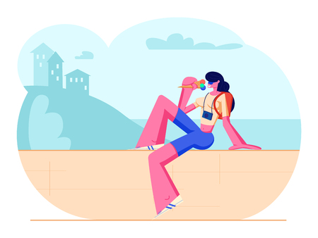 Woman Traveling on Summer Vacation, Tourist Girl with Photo Camera and Backpack Sit on Parapet Eating Ice Cream in Hot Weather on Beautiful Nature Landscape Background Cartoon Flat Vector Illustration