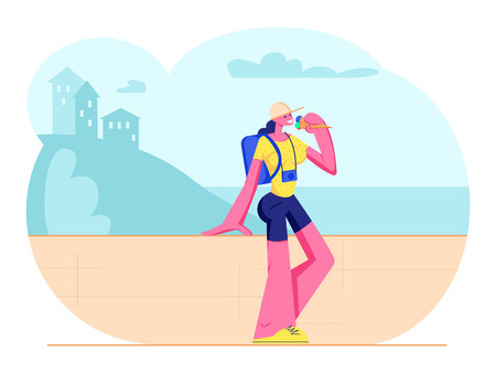 Tourist Girl with Photo Camera and Backpack Stand at Parapet Eating Ice Cream in Hot Weather Enjoying Beautiful Seascape and Landscape. Traveling Woman Summer Vacation Cartoon Flat Vector Illustration
