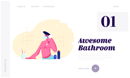 Young Man Shaving in Bathroom Passing Razor for Beard. Morning Hygiene Procedure, Every day Routine, Bathing and Washing. Website Landing Page, Web Page. Cartoon Flat Vector Illustration, Banner Иллюстрация