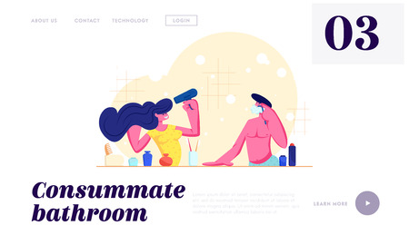 Every Day Routine, Hygiene. Loving Couple Morning Procedure. Girl Drying Hair with Fan, Man Shaving in Bathroom. Love Relations Website Landing Page, Web Page. Cartoon Flat Vector Illustration, Banner Illustration