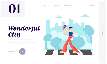 Young Man with Smartphone and Documents Folder in Hands Walking along Crosswalk in Big Busy City, Dweller Lifestyle, Traffic Website Landing Page, Web Page. Cartoon Flat Vector Illustration, Banner Illustration