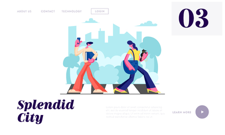 Woman with Dog and Man with Phone Walking Crosswalk in Metropolis, City Dwellers Lifestyle, Hurry at Work, Traffic, Weekend. Website Landing Page, Web Page. Cartoon Flat Vector Illustration, Banner