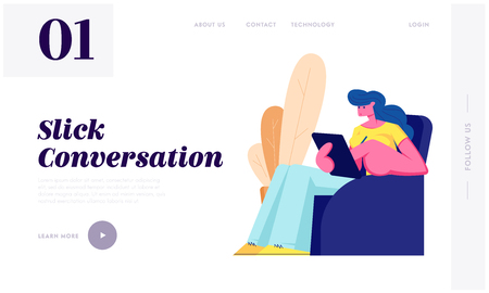 Young Woman Sitting on Armchair with Tablet in Hands Communicating with Friends in Social Media Networks Using Internet. Chat Website Landing Page, Web Page. Cartoon Flat Vector Illustration, Banner Çizim