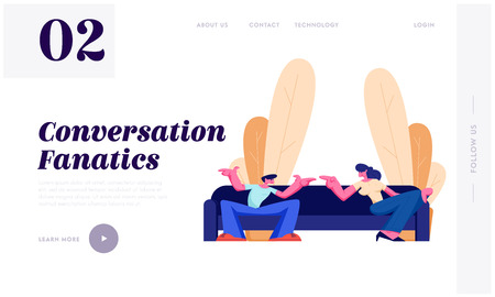 Young Man and Woman Sitting on Sofa at Home Having Active Conversation. People Chatting, Discussing, Friends Meeting, Quarrel. Website Landing Page, Web Page. Cartoon Flat Vector Illustration, Banner Illustration