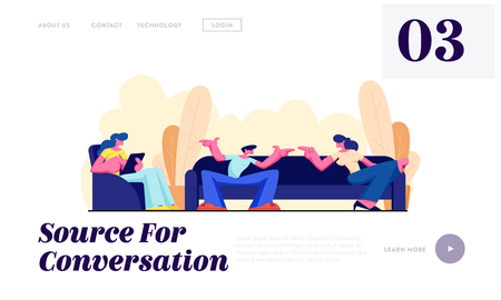 Friends Sit on Couch, Communicating, Relaxing with Gadget at Home. Friendship, Chatting People Conversation Leisure, Sparetime Website Landing Page, Web Page. Cartoon Flat Vector Illustration, Banner