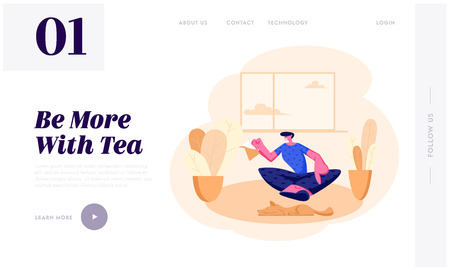 Young Man Sitting on Floor with Tea Pot in Hands at Home Interior Having Leisure, Sparetime, Relaxing or Chatting with Friend. Website Landing Page, Web Page. Cartoon Flat Vector Illustration, Banner