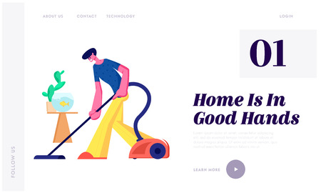 Man Doing Domestic Work, Cleaning Floor Every Day Routine Chores, Householder Vacuuming Home with Vacuum Cleaner in Living Room Website Landing Page, Web Page. Cartoon Flat Vector Illustration, Banner