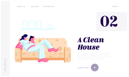 Young Pregnant Woman with Big Belly Lying on Comfortable Sofa and Reading Book at Home. Leisure, Spare Time, Weekend, Maternity Website Landing Page, Web Page. Cartoon Flat Vector Illustration, Banner Illusztráció
