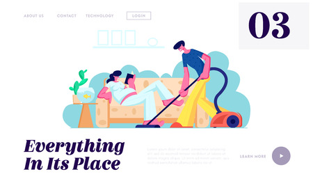 Man Vacuuming Floor, Pregnant Woman with Big Belly Reading on Couch. Family Waiting Baby, Couple Husband and Wife Clean Home Website Landing Page, Web Page. Cartoon Flat Vector Illustration, Banner