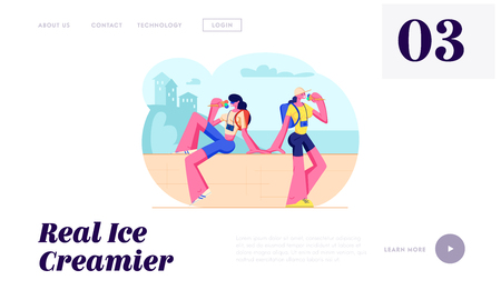 Tourist Girls with Photo Cameras Sitting on Parapet Eating Ice Cream in Hot Weather. Traveling People, Women on City Vacation. Website Landing Page, Web Page. Cartoon Flat Vector Illustration, Banner