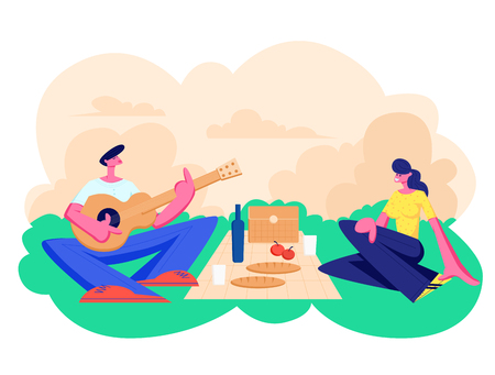Happy Couple of Male and Female Characters Dating Outdoors on Picnic. Declaration of Love, Young Man Playing Guitar, Singing Song to Girl, Romantic Relations, Meeting Cartoon Flat Vector Illustration
