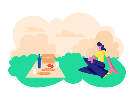 Happy Smiling Woman Sitting on Grass with Tablecloth, Food and Wine Bottle. Leisure Outdoors on Picnic, Dating Open Air Spare Time, Summer Vacation, Weekend Activity. Cartoon Flat Vector Illustration