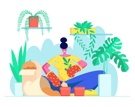 Young Woman in Gloves Replanting Domestic Flower to another Pot. Botanist Planting Houseplant, Grow Herbs. Girl Caring for Plants at Home, Leisure, Hobby, Weekend Cartoon Flat Vector Illustration