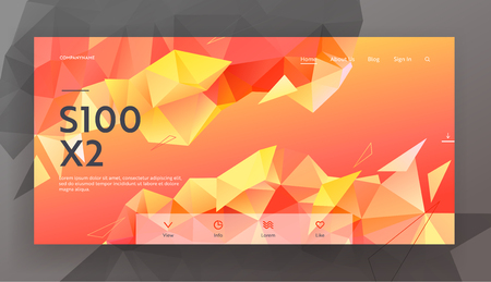 Modern Low Poly Style Background with Triangle Polygonal Pattern. Creative Blurry Geometric Design in Origami Style, Red Yellow Gradient. Website Landing Page, Web Page. Vector Illustration, Banner