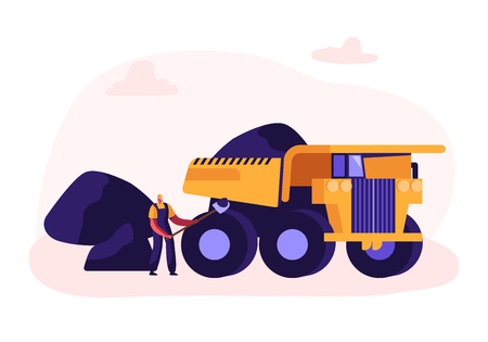Miner Loading Coal with Shovel into Truck. Quarry Transport and Technique, Extraction Industry. Coal Mining Infographics, Working Equipment, Transportation, Technics. Cartoon Flat Vector Illustration Иллюстрация
