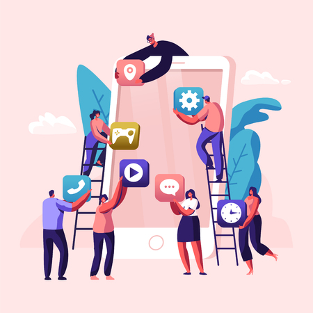 Business People Creative Team Putting App Icons on Huge Smartphone Screen. Designers Develop Application for Mobile Phone, Busy Working Process, Cooperation, Teamwork. Cartoon Flat Vector Illustration Stock Illustratie